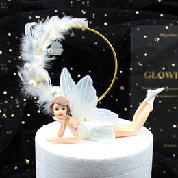 Pasteles de boda de plumas online-HOHOGOO 1 UNID Pluma Redonda Perla Cake Topper Día de San Valentín Feliz Cumpleaños Banquete de Boda Hornear Postre Pastel Decoración Suministros