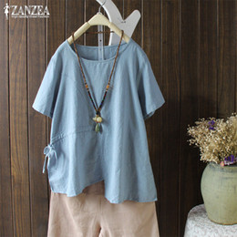 zanzea lace shorts Promo Codes - Asymmetrical Tops Women Summer Blouse 2019 ZANZEA Lace Up Waist Shirt Female Short Sleeve Chemise Kaftan Plus Size Linen Blusas