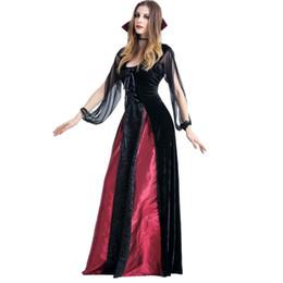 2020 vestido de reina vampiro 2018 Mujer Vampire Condesa Vestido Mujer Cosplay Demonio Vampiros Queen Mesh Elastic Vintage Vestidos Largos S-XL rebajas vestido de reina vampiro
