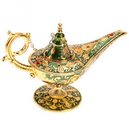 Deutschland Aladdin Magic Lamp traditionelle aushöhlen Märchen Aladdin Genie Lampe Vintage Retro Spielzeug Home Decor Ornamente Vintage Teekanne J190712 supplier pot lamps Versorgung