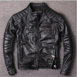 Leder Echtes homme Schwarz Jacket Kleidung new LederjackenMann Freier Stil SchlankCoolVerkäufe Shipping Warmer Für MännerMotorradfahrer DYWHbeE29I