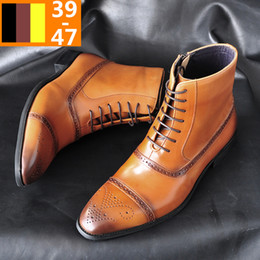 european leather men shoes Coupons - 2019 new men's European and American side zipper three-joint polishing color high-top shoes brock high-waisted Martin boots men's shoes