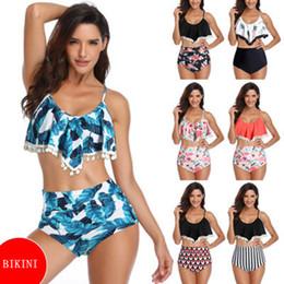 maillot de bain en nylon Promotion Date Femmes Sexy Maillots De Bain Bikini Ensemble Rétro Volant Haute Taille Bikini Halter Cou Deux Pièce Maillot De Bain ZZA962