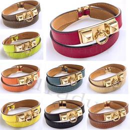 2019 braccialetto in oro smeraldo nuova pelle braccialetto H-epoca più strati per le donne del polsino di Uomini fibbia in oro pulseras Wristband hombre accessori maschili jewelry3bc3 #
