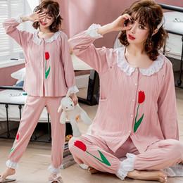 Feminino cardigan algodão flor on-line-2019 novo algodão manga longa confinado nightwear mulheres grávidas dar à lactação lactação alimentação cardigan flores leisurewear