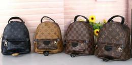 sac à bandoulière en métal argenté Promotion Palm Springs Mini sac à dos en cuir véritable de haute qualité pour femmes sacs à dos en cuir d'impression femmes Mini sac à dos livraison gratuite
