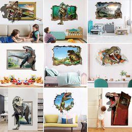 2019 abnehmbare dinosaurier-wandaufkleber Einzelhandel 9 arten Kinder Halloween 3D dinosaurier wandaufkleber Kinder Abnehmbare schlafzimmer dekoration wohnkultur wandkunst aufkleber Tapeten günstig abnehmbare dinosaurier-wandaufkleber