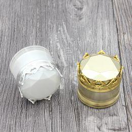 Kosmetische jar cap online-15g 20g Krone kosmetische Cremetiegel High-End Kosmetikbehälter mit Kronkorken Weißgold Silber
