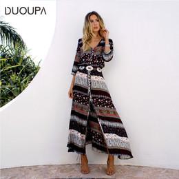 vêtements hippie bohème Promotion DUOUPA 2019 nouvelle impression longue bohème robe femme maxi longue robe imprimé floral rétro hippie chic marque vêtements boho robe