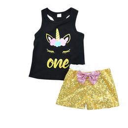 Girls Summer home Clothes Tops Shorts Toddler Girls Ropa de bebé Lentejuelas Bebé 2 UNIDS Trajes Ropa Conjunto Lindo desde fabricantes