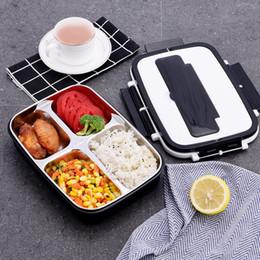 Contenants à lunch en acier en Ligne-304 Bento Box En Acier Inoxydable 4 Couleurs Double Couche Boîtes À Lunch Pour Étudiants 3 4 Grilles Contenants Alimentaires 21 5ql E1