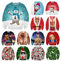 Кошки с длинным рукавом t рубашки онлайн-Рождество толстовка Санта-Клаус Снеговик кошка печатных пуловер топы футболки с длинным рукавом толстовка зима Рождество верхняя одежда GGA2968-3