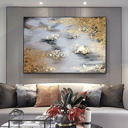 Pintura a óleo tamanho grande on-line-Tamanho grande Handmade grosso faca pintura a óleo abstrata Ouro Cinza Branco lindo abstrato Pintura Home Decor Oil on Canvas