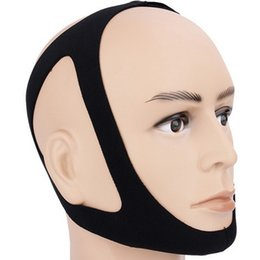 Dispositivos de apneia do sono on-line-Anti ronco Chin Strap Preto Neoprene parar ronco Chin Suporte Belt Banda Anti Apneia Jaw solução saudável Dispositivo sonífero DBC DH1206