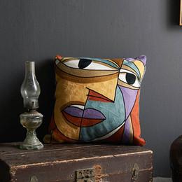 almofada de malha cobre padrões Desconto Abstração geométrica Picasso Figuras Pintura a óleo Padrão de algodão toalhas bordadas de malha de lã almofada travesseiro bordado Covers Turquia1