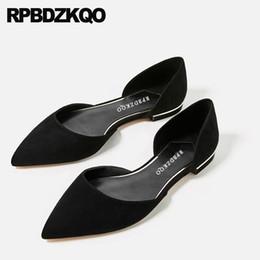 zapatos chinos de gran tamaño Rebajas Resbalón de la oficina de trabajo chino 2019 en sandalias de gran tamaño para mujer casual 11 gamuza damas pisos zapatos de diseño china negro 10 punta puntiaguda