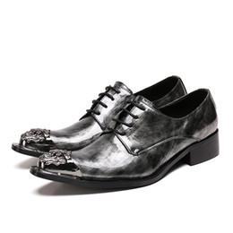 Herren graue kleid schuhe online-Gray Mens Dress Shoes Wohnungen aus echtem Leder Hochzeit männlich paty prom Schuhe Herren formale Business-Schuhe