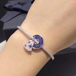 arte jóias de pressão Desconto Pulseira do Simple New Silver Ring Wind Chimes Bangle Mulheres Moda Diamond Abrir Pulseira Platinum Blue Diamond Bangle