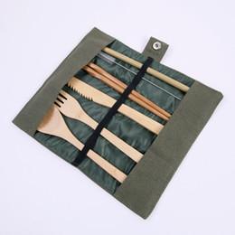 2019 sacos de faca para Madeira Dinnerware Set bambu Colher Fork Soup faca cutelaria Set com pano de saco Cozinha Cozinhar Ferramentas utensílio EEA550 sacos de faca para barato