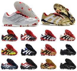 2019 stivali predatori Hot Classics Predator Accelerator Elettricità Precisione FG X Beckham DB Zidane ZZ 1998 98 Scarpe da calcio da uomo tacchetti scarpe da calcio Taglia 39-45 stivali predatori economici