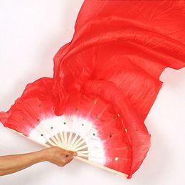 2019 soltar velos Hecho a mano Colorido Belly Dance Traje de mujer Bamboo Long Silk Fans Veil Silk Fan Drop Shipping # 136 soltar velos baratos