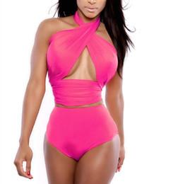 Bikini più online-Bikini brasiliano a vita alta Bikini set vintage push up costumi da bagno all'uncinetto costumi da bagno plus size nuovo costume da bagno sexy fasciatura