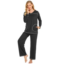 f7ef4758ec Women Height 90cm Pajama 60cm Waist 175cm Sets Bust Solid Pants Long Casual Sleeve  Sleepwear 90cm Hip Long Top Nightwear