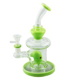 2019 tubi di scheletro bongs Light Design scheletro verde 8 pollici Bong Acqua narghilè fumare la pipa Percolator Bicchiere con ciotola di vetro di quarzo banger