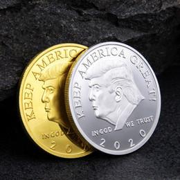 2019 dessin d'art populaire Pièce commémorative 2020 de Donald Trump Président américain Avatar Pièces en or Insigne en argent Collection artisanale en métal Epacket républicain