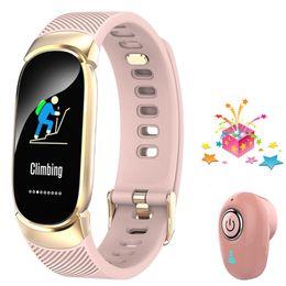 Умный браслет + наушники / комплект женщины smartband для xiaomi mi band 2 huawei honor band 4 женский фитнес-браслет VS ID115 H8 H1 H2 от