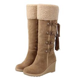 83d1367e262d40 keil quasten stiefel Rabatt Winter Damenmode Schnee Stiefel Neue High Heel  Stiefel mit Quasten Frauen Schuhe