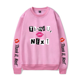 fashion hoodies cloth Promo Codes - Ariana Grande thank U next Hoodies O-neck Sweatshirt 2019 New Album Soft Pink Red Color Unisex Fashion Oversize HighStreet Cloth