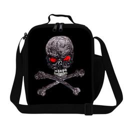 Кулеры для завтрака онлайн-Черный череп печати оскорбил обед кулер сумки для мальчиков прохладный стиль ланч-бокс сумка для взрослых персонализированные обеды кулеры дети