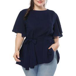 Plus la taille solide couleur Split manches femme robe tunique O-collier grande taille femmes Casual été Top Blouses à volants Hem dames vêtements ? partir de fabricateur