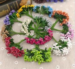 2019 grinalda com fio 12 hastes Flor Artificial Estame haste do fio / casamento deixa estame DIY decoração da caixa de casamento coroa de flores grinalda com fio barato