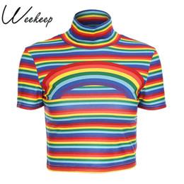 146a778d6a5257 2019 schlankes taillen-mode-t-shirt Weekeep schlanke Taille geerntete T- Shirts