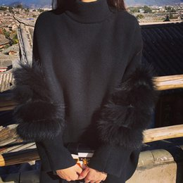 jumper de malha macia Desconto Patchwork Faux Fur Luva Jumper Mulheres De Malha Fria Pullovers Two-Sided Desgaste de Manga Longa Pullovers Casuais Outerwear