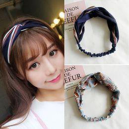Korea modegewebe online-8 teile / los frauen haarschmuck mode stirnband gewebe kreuz verknotet bogen chiffon floral haarband korea kopfschmuck damen hoop