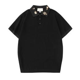 Белая футболка поло онлайн-Мужские Дизайнерские Рубашки Поло Летом Вышивка Футболка с коротким рукавом G Polo Fashion Повседневная Блузка Рубашки Поло Тис Черный Белый S-2XL