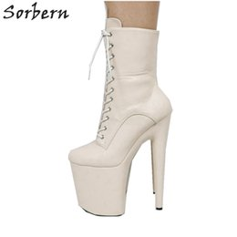 pole dancers Coupons - Super High Heel Ankle Boots For Women 8 Inch Pole Dance Shoes Thick Platform Pole Dance Exotic Dancer Heels Booties