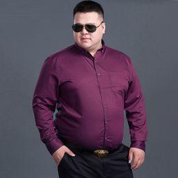 2019 camisas de casamento roxas para homens Homens Winter grande porte grandes roxo camisas manga longa 8XL 10XL camisas de vestido do casamento do outono 9XL 12 XL camisa formal Stage 150KG preto camisas de casamento roxas para homens barato