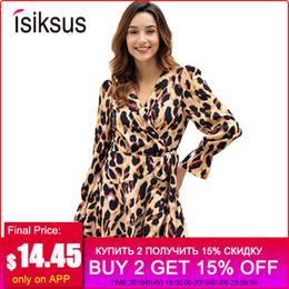 41134262308 длинный рукав кружевные платья леопарда Скидка Оптовая V шеи рябить  леопарда мини-платье с длинным