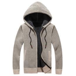 homens inverno camisola pele Desconto Acolchoado inverno camisola de malha Men jaqueta grossa Velvet Fur Jacket de capuz Men Cotton Cardigan mola outdoors Mens Camisolas