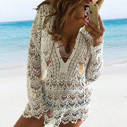 black friday dresses Promo Codes - Black Friday Deals Women Cover Up Sexy Women Bathing Suit Lace Crochet Bikini Cover Up Swimwear Summer Beach Dress vestidos