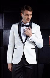 grey suit champagne tie Promo Codes - mens sequin jacket White Men Suits Groom Tuxedos terno Groomsmen Wedding Party Dinner Best Man Suits (Jacket+Pants+Tie)