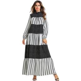 les femmes rayé patchwork robe longue à volants manches longues élégant maxi robe plissée femme occasionnels boho robe robes ? partir de fabricateur