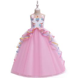 2019 горячие розовые свадебные платья ребенка Единорог цветок девушки платья на свадьбу детская дизайнерская одежда девушки одеваются длинные платья девочек платье принцессы большие детские платья A6041