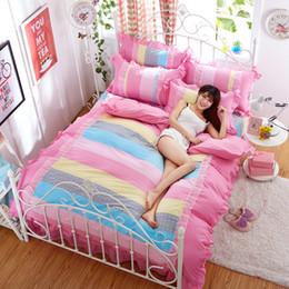 Ropa de cama princesa moderna online-Rainbow Princess 4 UNIDS Juego de Cama de Dibujos Animados Moderna Flor Floral Reina King Size Bed Duvet Cover Sheet Funda de Almohada sin relleno