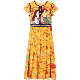 crows bow Coupons - 2019 Summer Dresses New Fashion G Chiffon Bow Yellow Slim Dress Pleated Skirt Printed Fairy Swing Skirt Women Clothes Pullover Size S-L
