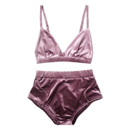 88c1492fcdc Kenancy Fashion Women Velvet Pajama Sets Bra Underwear Straps Bralette  Panties Soft Trim Bra Sets High Waist Push Up Set